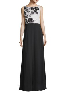 Carmen Marc Valvo Colorblocked Floral Floor-Length Gown