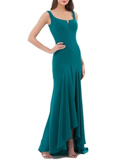 Carmen Marc Valvo Infusion Crepe High/Low Gown