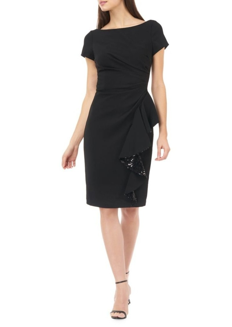 Carmen Marc Valvo Infusion Crepe Sequined Sheath Dress