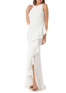 Carmen Marc Valvo Infusion Cutaway Cascade Gown