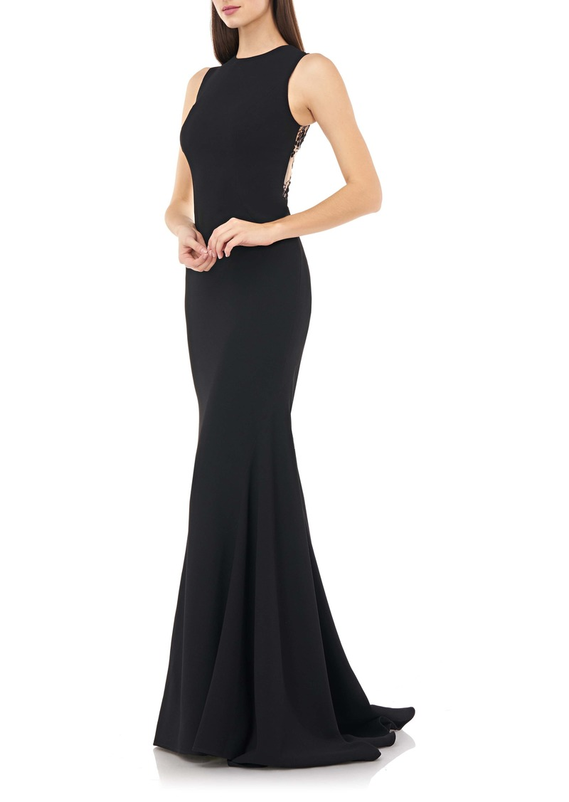 Carmen Marc Valvo Infusion Embellished Back Mermaid Gown