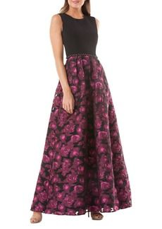 Carmen Marc Valvo Infusion Embellished Crepe and Brocade Floor-Length Gown