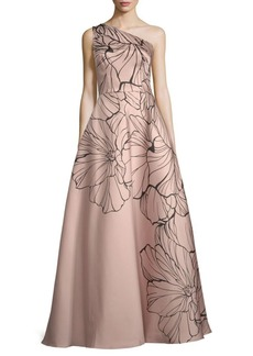 Carmen Marc Valvo Embellished Floral-Print Ball Gown