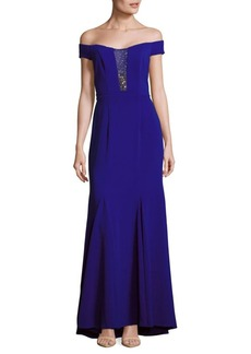 Carmen Marc Valvo Infusion Embellished Off-The-Shoulder Gown