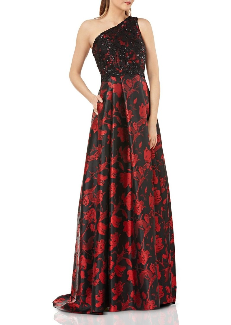 Carmen Marc Valvo Infusion Embellished One-Shoulder Ball Gown