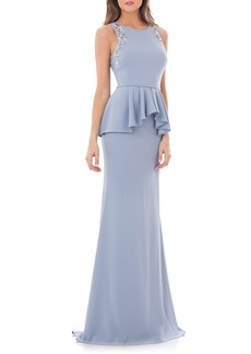 Carmen Marc Valvo Infusion Embellished Peplum Waist Crepe Gown