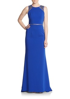 Carmen Marc Valvo Infusion Embellished Sheer Inset Trumpet Gown