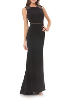 Carmen Marc Valvo Infusion Embellished Stretch Gown