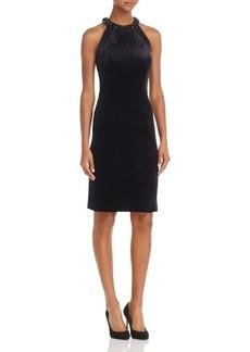 Carmen Marc Valvo Infusion Embellished Velvet Dress