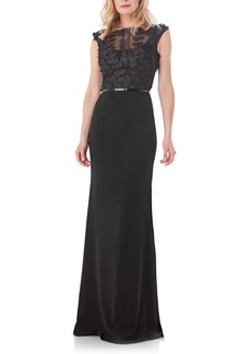 Carmen Marc Valvo Infusion Embroidered Bodice Crepe Gown