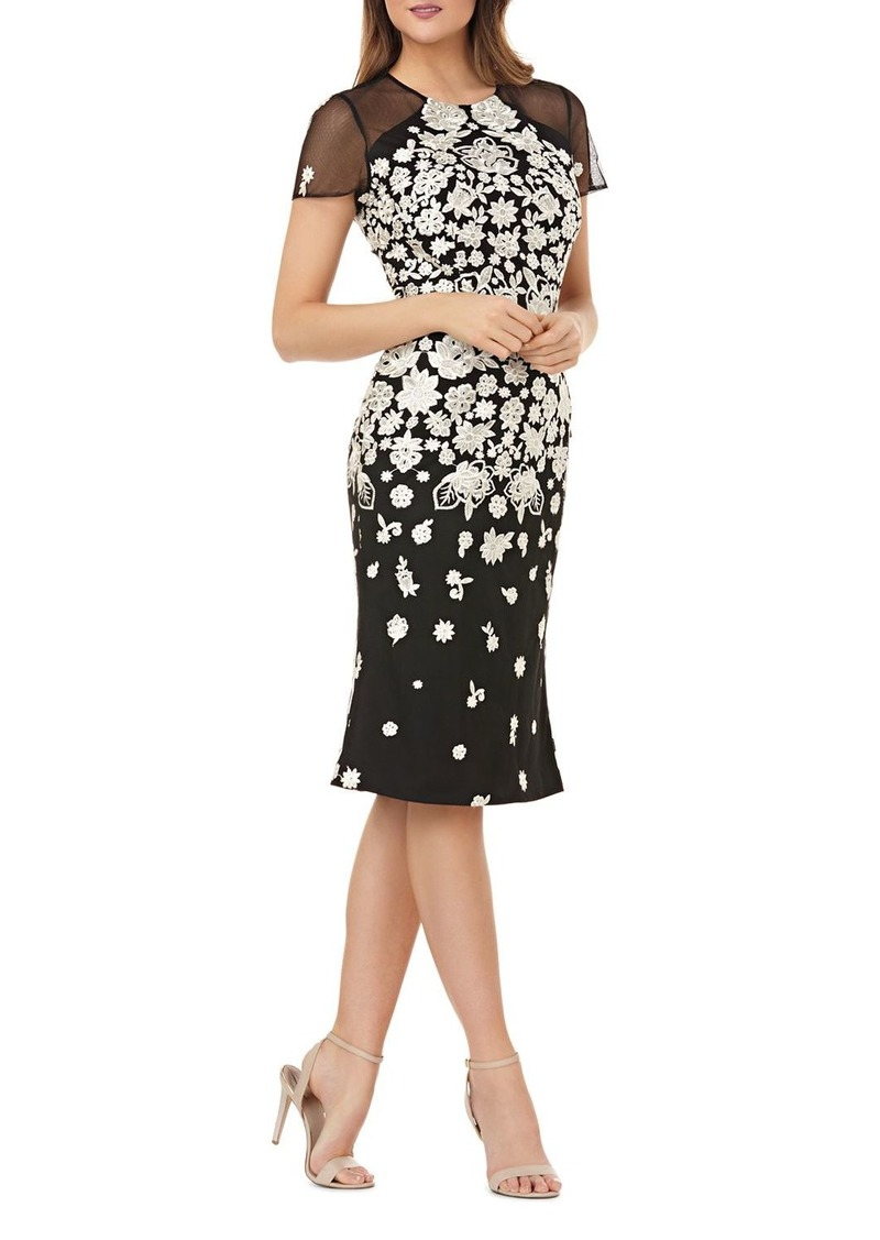 Carmen Marc Valvo Infusion Embroidered Cocktail Dress