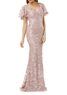 Carmen Marc Valvo Infusion Embroidered Flutter Sleeve Gown