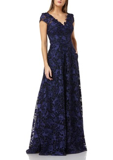Carmen Marc Valvo Infusion Embroidered Gown