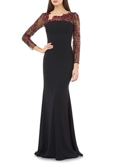 Carmen Marc Valvo Infusion Embroidered Long Sleeve Crepe Gown