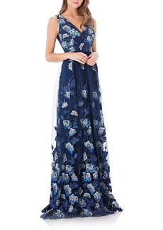 Carmen Marc Valvo Infusion Embroidered Mesh Gown