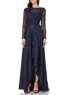 Carmen Marc Valvo Infusion Embroidered Mesh Long Sleeve High/Low Gown