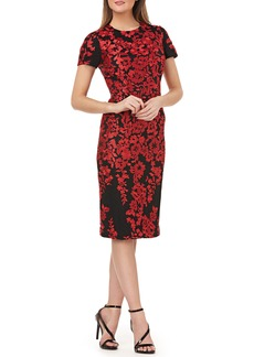 Carmen Marc Valvo Infusion Embroidered Mesh Sheath Dress