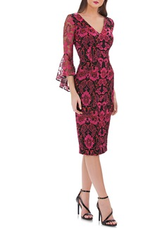 Carmen Marc Valvo Infusion Embroidered Sheath Dress