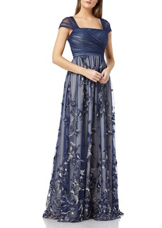 Carmen Marc Valvo Infusion Embroidered Tulle Gown