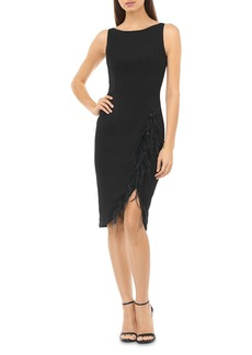 Carmen Marc Valvo Infusion Faux Feather-Trimmed Cocktail Dress