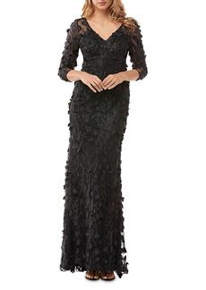 Carmen Marc Valvo Infusion Floral Appliqu� Illusion Gown