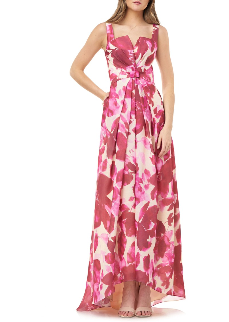 Carmen Marc Valvo Infusion Floral Bow Waist High/Low Ballgown
