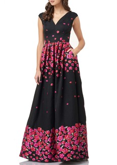 Carmen Marc Valvo Infusion Floral Brocade Ballgown