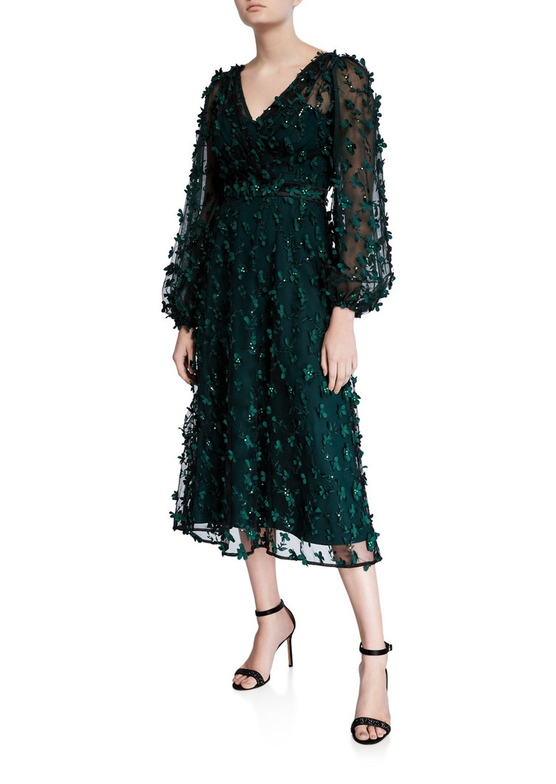 Carmen Marc Valvo Infusion Floral Embellished V-Neck Long-Sleeve Midi Dress
