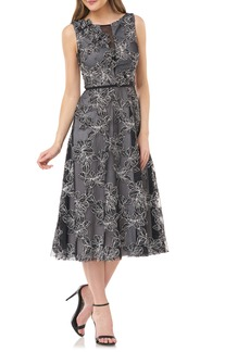 Carmen Marc Valvo Infusion Floral Embroidered Midi Dress