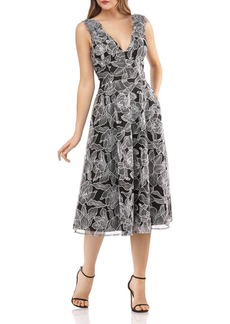Carmen Marc Valvo Infusion Floral-Embroidered Fit & Flare Dress