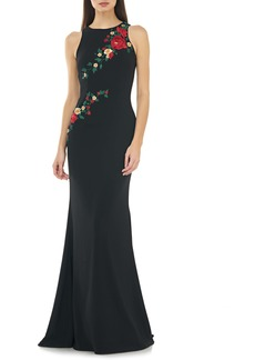 Carmen Marc Valvo Infusion Floral Embroidered Mermaid Gown