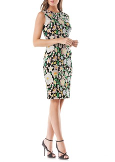 Carmen Marc Valvo Infusion Floral Embroidered Sheath Dress