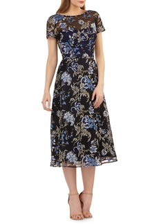 Carmen Marc Valvo Infusion Floral-Embroidered Tea-Length Dress