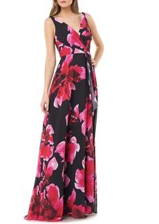 Carmen Marc Valvo Infusion Floral Faux Wrap Gown
