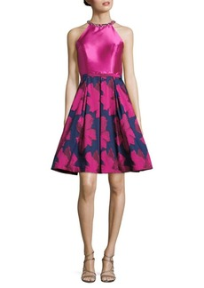 Carmen Marc Valvo Infusion Floral-Print Fit-&-Flare Dress