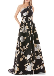 Carmen Marc Valvo Infusion Floral-Print One-Shoulder Ballgown