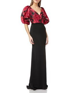 Carmen Marc Valvo Infusion Floral Print Organza Bodice Evening Dress