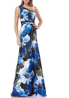 Carmen Marc Valvo Infusion Floral-Printed One-Shoulder Mikado Gown