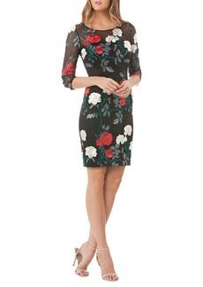 Carmen Marc Valvo Infusion Floral Quarter-Sleeve Cocktail Dress
