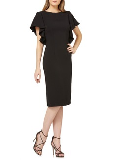 Carmen Marc Valvo Infusion Flutter Sleeve Sheath Dress