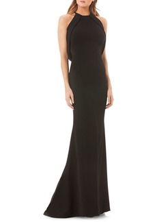 Carmen Marc Valvo Infusion Halter Fit-and-Flare Gown with Convertible Shrug