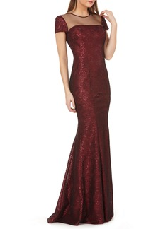 Carmen Marc Valvo Infusion Illusion Neck Sequin Trumpet Gown