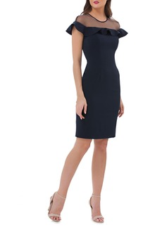 Carmen Marc Valvo Infusion Illusion Yoke Ruffle Crepe Sheath Dress