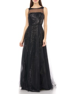 Carmen Marc Valvo Infusion Illusion Yoke Sequin Stripe Tulle Gown