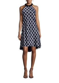 Carmen Marc Valvo Infusion Jet Choker Embellished Plaid Halter Dress
