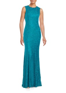 Carmen Marc Valvo Infusion Jewel Neck Gown