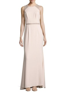 Carmen Marc Valvo Infusion Jewelneck Gown