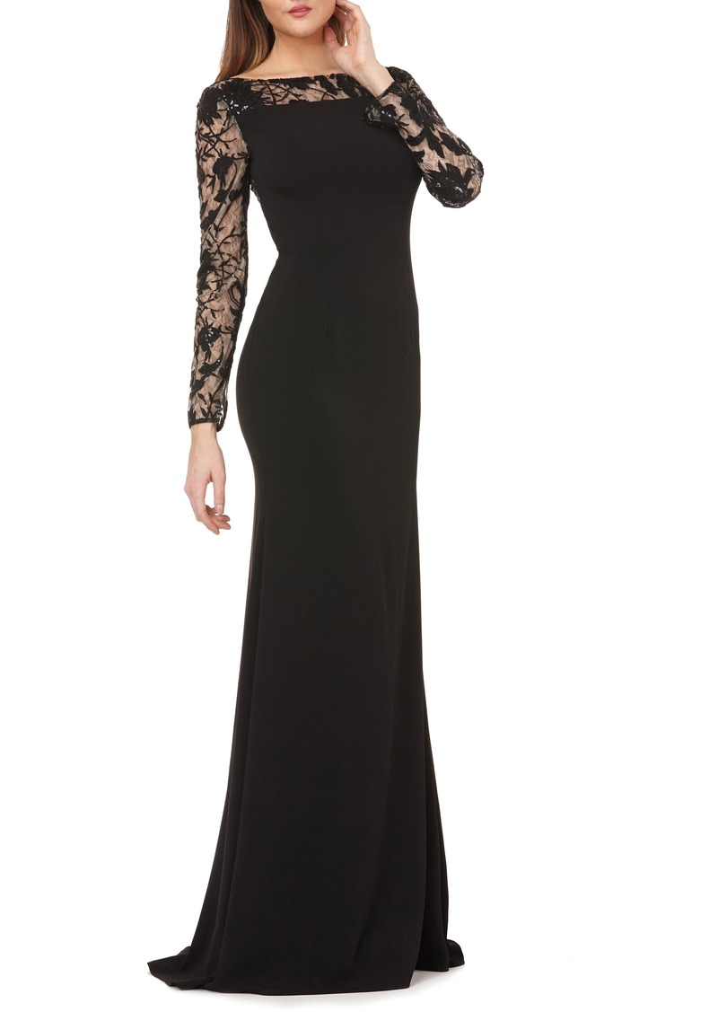 Carmen Marc Valvo Infusion Lace & Crepe Gown