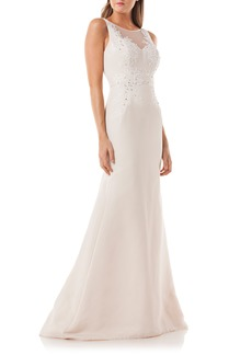 Carmen Marc Valvo Infusion Lace Appliqué Mermaid Gown