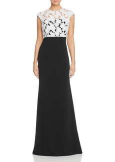 Carmen Marc Valvo Infusion Lace Popover Gown